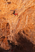 "Sasha DiGiulian climbing ""Golden"" rated 5.14b at ""The Cathedral,"" near St. George Utah."