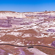 Panorama of the Painted Desert in the Petrified Forest National Park in Arizona.