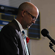 Conrad Schools of Science Principal Mr. Mark Pruitt, Jr addresses students and family during Conrad commencement exercises Saturday, June 06, 2015, at The Bob Carpenter Sports Convocation Center in Newark, Delaware.