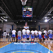 Delaware 87ers players stand at attention during the national anthem prior a NBA D-league regular season basketball game between the Delaware 87ers and the Grand Rapids Drive (Detroit Pistons) Saturday, Apr. 04, 2015 at The Bob Carpenter Sports Convocation Center in Newark, DEL.
