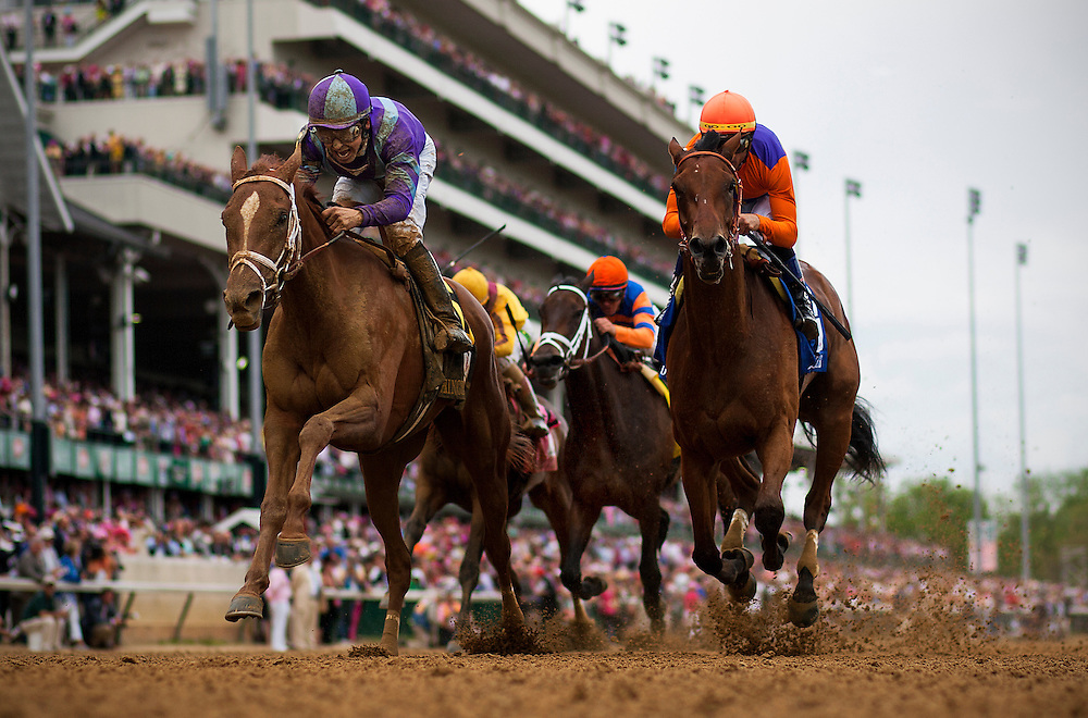 Princess of Sylmar with Mike Smith up (left) out duels Beholder and Garrett Gomez to win the Kentucky Oaks at Churchill Downs in Louisville, KY on May 03, 2013. (Alex Evers/ Eclipse Sportswire)