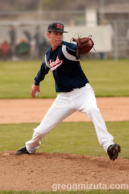 New Plymouth's Jake Mellenthin pitches against Vale on April 28, 2011.