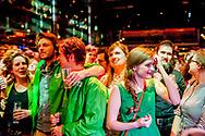 AMSTERDAM - Leden van GroenLinks reageren bij de uitslag van de eerste exit polls in De Melkweg om de verkiezingsuitslag te volgen na afloop van de Tweede Kamerverkiezingen.copyright robin utrecht /jesper drenth