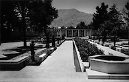 Bucolic gardens at the Kabul Serena Hotel, where months later a Taliban-sympathetic terrorists would penetrate and bring spray the lobby in a hail of bullets, Kabul, Afghanistan.  At least six people died in the attack which shattered the illusion of safety inside the foreigners' bubble.