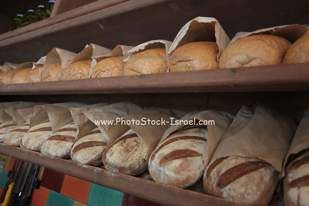 Loaves of bread displayed on a shelf in a bakery shop