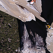 "Lisa Gnade climbing the last pitch of ""The Nose,"" El Capitan, Yosemite National Park, United States."