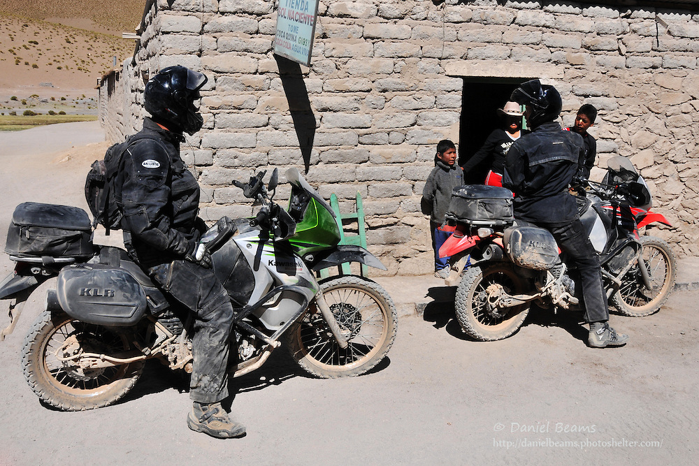 Motorcyclists on altiplano in southern Bolivia