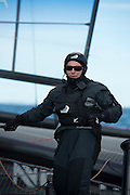 Emirates Team New Zealand's Ray Davies sailing on the AC72 on the Hauraki Gulf on the second day of sailing.3/8/2012
