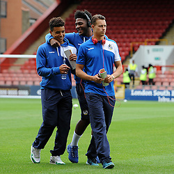 Debutant Tyler Lyttle of Bristol Rovers with Ellis Harrison and Billy Bodin - Mandatory byline: Neil Brookman/JMP - 07966386802 - 29/08/2015 - FOOTBALL - Matchroom Stadium -Leyton,England - Leyton Orient v Bristol Rovers - Sky Bet League Two