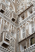 House detail. Old city of San'a'. Gypsum is used for the decoration and detailing. ..July 2007.