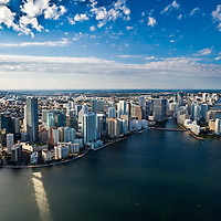Aerial photograph of Brickell Miami waterfront looking west from Biscayne Bay.