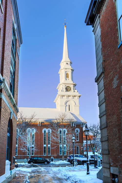 The North Church as seen from an alley in Portsmouth, New Hampshire. Winter.