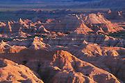 Badlands at sunset from Sage Creek Basin Overlook; Badlands National Park, South Dakota.