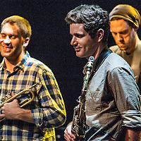 The band Kneebody performs at the Culture Project Theater with Adam Benjamin on piano, Ben Wendel on sax, Kaveh Rastegar on bass, Nate Wood on drums and Shane Endsley on trumpet during the NYC Winter Jazz Fest, Friday January 11, 2013.