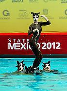Great Britain GBR  - Chihuahua dog  masks.Highligths event Day01 - Nov. 30.7th FINA Synchronized Swimming  World Trophy.Mexico City MEX - Nov. 30th, Dec. 2nd, 2012.Photo G.Scala/Deepbluemedia/Inside
