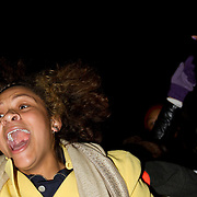 People celebrate in front of the White House in Washington DC after Barack Obama was announced the winner of the 2012 presidential elections.