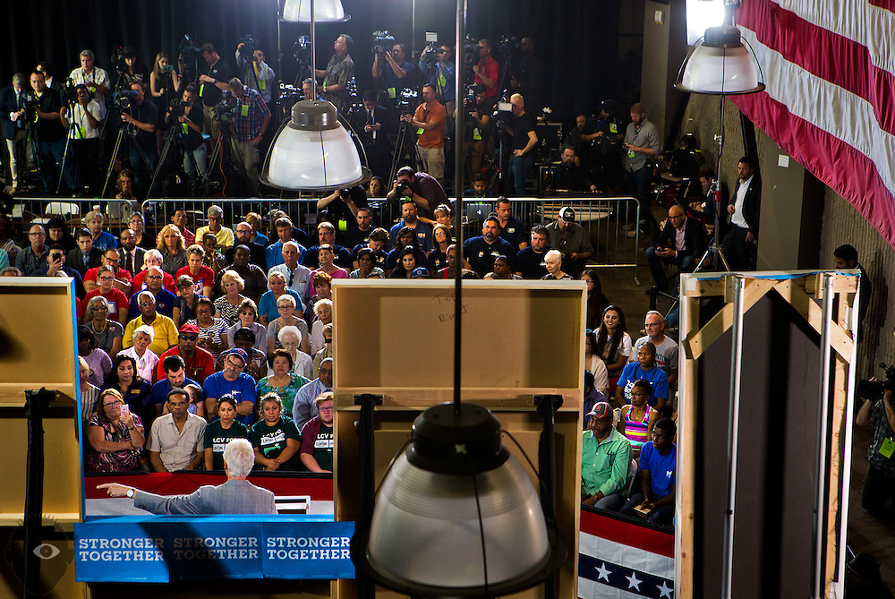 President Bill Clinton campaigns before a full house on behalf of Hillary Clinton at her previously scheduled event at the College of Southern Nevada on Wednesday, Sept. 14, 2016.  L.E. Baskow