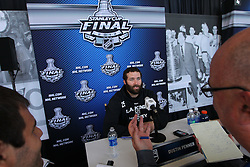 May 29; Newark, NJ, USA; Los Angeles Kings left wing Dustin Penner (25) during Stanley Cup Finals media practice day at the Prudential Center.