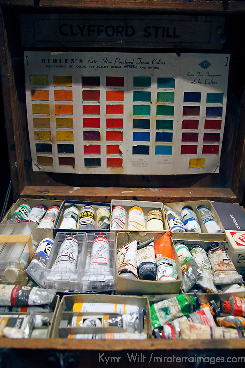 USA, Colorado, Denver. Paints of the artist at Clyfford Still Museum.