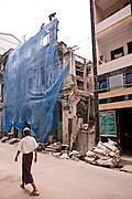 Colonial building being demolished in cnetral Yangon, Myanmar