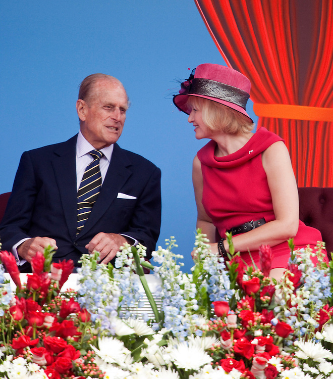Prince Philip, The Duke of Edinburgh speaks with Laureen Harper (wife of Prime Minister Stephen Harper) during Canada Day celebrations on Parliament Hill in Ottawa, Ontario, July 1, 2010. The Queen is on a 9 day visit to Canada. <br /> AFP/GEOFF ROBINS/STR