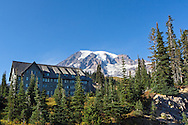 The Paradise Inn and Mount Rainier at Mount Rainier National Park in Washington State, USA