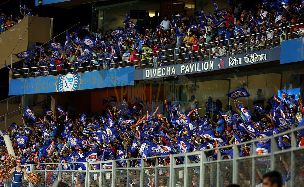 Crowd Enjoys during match 1 of the Vivo Indian Premier League ( IPL ) 2016 between the Mumbai Indians and the Rising Pune Supergiants held at the Wankhede Stadium in Mumbai on the 9th April 2016<br /> <br /> Photo by Sandeep Shetty/ IPL/ SPORTZPICS