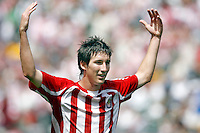 20 May 2007: Chivas #16 Sacha Klijestan gestures to celebrate to fans after a goal during a 1-1 tie for MLS Chivas USA vs. Los Angeles Galaxy pro soccer teams at the Home Depot Center in Carson, CA.
