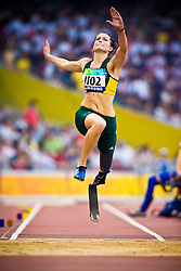"""Christine Wolf of Australia competes in the women's F42 Long Jump during the Beijing 2008 Paralympic Games; National """"Bird's Nest"""" Stadium, Beijing Olympic Green, China, 8th September 2008;"""