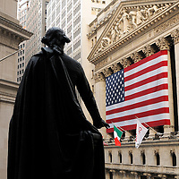 George Washington Statue and New York Stock Exchange, Financial District, Manhattan, New York, New York, USA