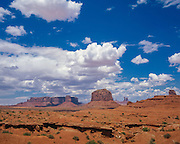 Summer clouds over Merrick Butte in Monument Valley on the Navajo Indian Reservation in northern Arizona and southern Utah