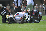 Ole Miss' Vincent Moss (23) recovers a fumble in Nashville, Tenn. on Saturday, September 17, 2011. Vanderbilt won 30-7..