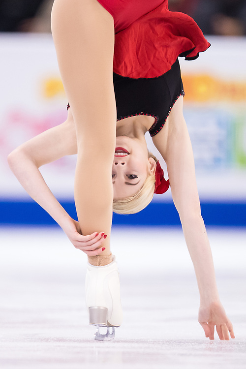 Gracie Gold of the United States performs her short program in the Ladies competition at the ISU World Figure Skating Championships at TD Garden in Boston, Massachusetts, March 31, 2016.