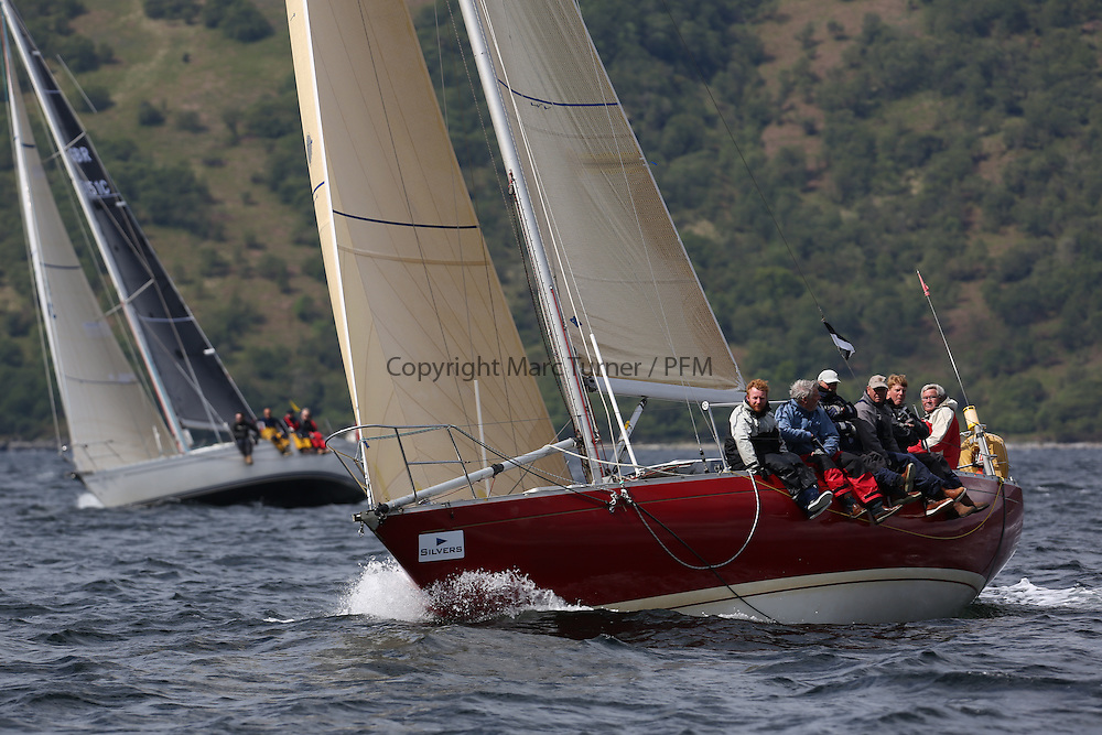 The Silvers Marine Scottish Series 2014, organised by the  Clyde Cruising Club,  celebrates it's 40th anniversary.<br /> Day 3, K4203, Stargazer, G. MacLeod/A. Bisland, CCC / Arran YC , Grand Soleil 34<br /> Racing on Loch Fyne from 23rd-26th May 2014<br /> <br /> Credit : Marc Turner / PFM