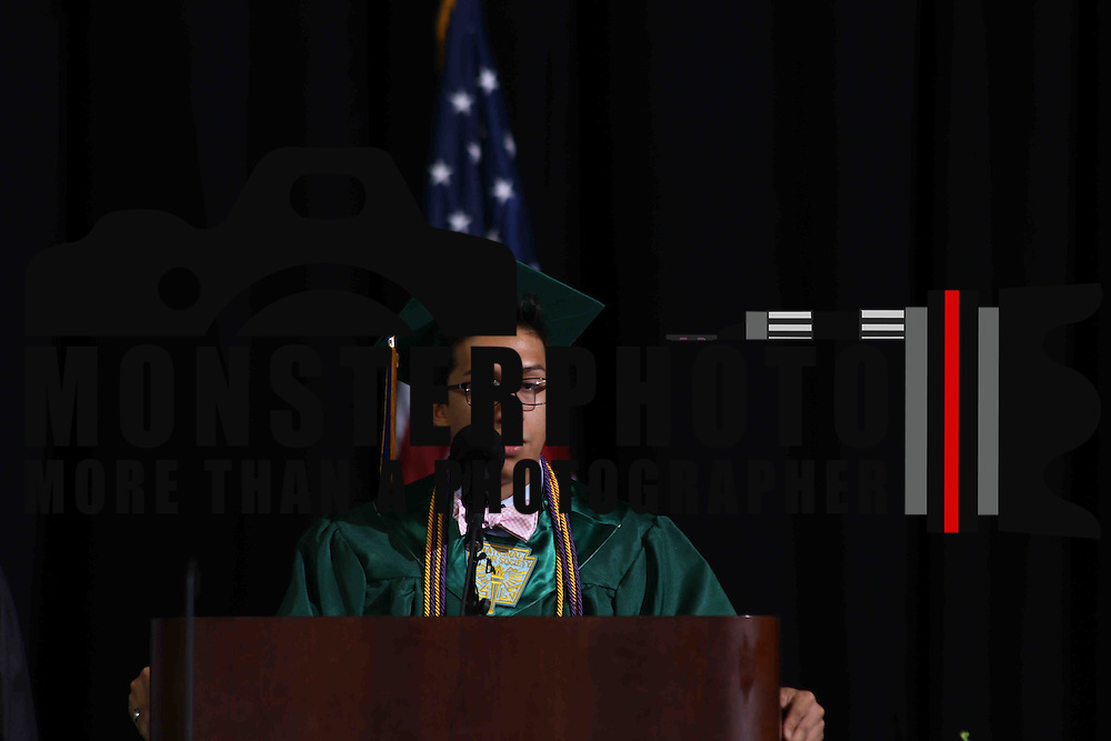 Thomas McKean High School student speaker Moises Valazquez addresses students and family during McKean 49th commencement exercises Saturday, June 06, 2015, at The Bob Carpenter Sports Convocation Center in Newark, Delaware.
