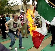 Demonstrators protest at a march in Tucson, Arizona, regarding proposed immigration legislation.
