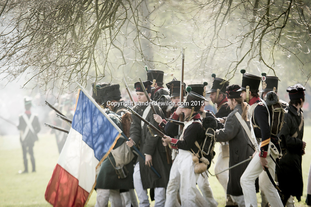 18 april 2015 Almelo NEtherlands. About 600 re-enactors made the historical defeat of Napoleon Bonaparte revive in Almelo. This was the biggest event before the bicentenial festivities of the battle in Waterloo taking place in Belgium this summer.