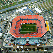 Aerial view of the Sun Life Stadium, 2 days before Superbowl 44 in Opa-Locka, Florida. New Orleans Saints vs the Indianapolis Colts.   Home of the Fed Ex Orange Bowl, Miami Dolphins, Land Shark Stadium, Dolphin, and Florida Marlins.