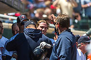 Chris Herrmann #12 of the Minnesota Twins celebrates in the dugout after hitting his first career home run during a game against the Seattle Mariners on June 2, 2013 at Target Field in Minneapolis, Minnesota.  The Twins defeated the Mariners 10 to 0.  Photo: Ben Krause