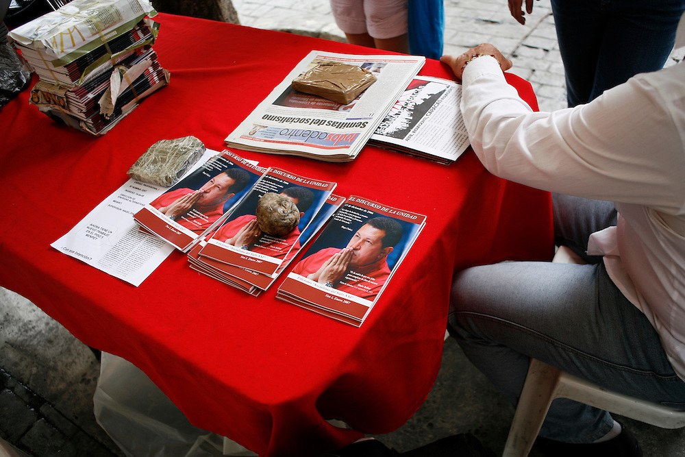 A tent set up just outside Plaza Bolivar in downtown Caracas encourages people to discuss politics, learn about the government and promote Chavez's PSUV party (Partido Socialista de Venezuela). The tents are run by volunteers and often play speeches by Hugo Chavez and others in the government and hand out pamphlets, such as these produced by the government.