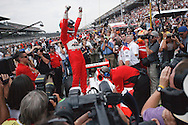 09 May 2009: 3 Helio Castroneves celebrates winning the pit stop challenge at the Indianapolis 500 Carb Day and Pit Stop Challenge. Indianapolis, Indiana.