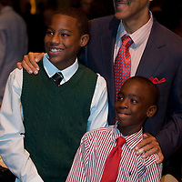 FREE_BoysAndGirls..Caption:(Thursday 11/05/2009 Tampa )Rayquan Johnson, 13, Tony Dungy and Sammie Oglesby, 10...Summary: 28th Annual Steak Dinner for Boys and Girls Club...Photo by James Branaman
