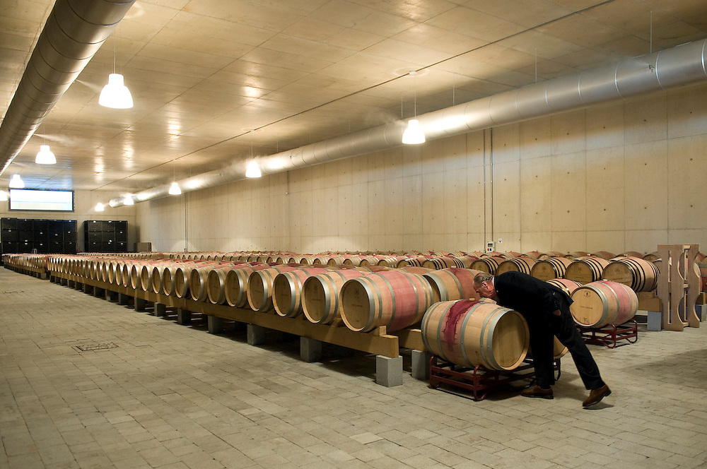 Legendary entrepeneur Rui Nabeiro checks on his wine at his state of the art winery at his hometown of Campomaior, Portugal