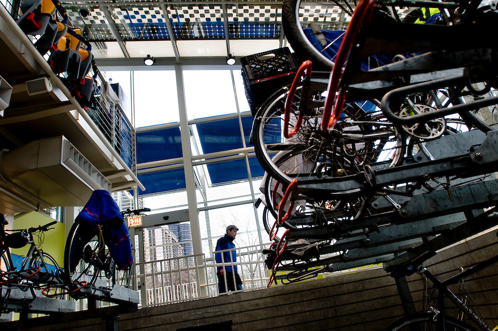 The McDonlands Bicycle Station in Millenium Park.  A place where commuters can park their bikes, shower and change before going to the office. The roof of the building is lined with solar panels powering the lights in the bicycle garage.<br /> <br /> Photographer: Chris Maluszynski /MOMENT
