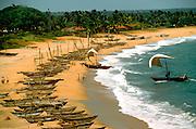 SRI LANKA, SEA COASTS fishing boats on shore at a village near Galle on the island's southern coast