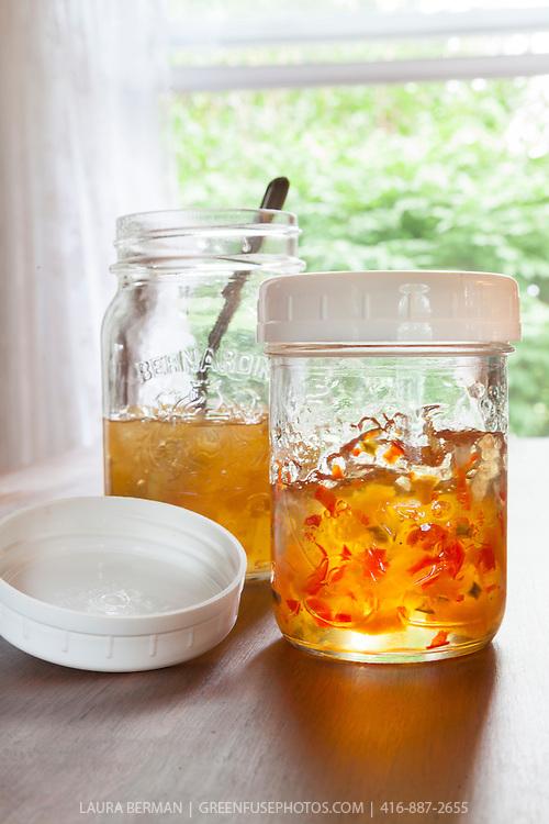 Bernardin  canning jars with standard size plastic storage lids.