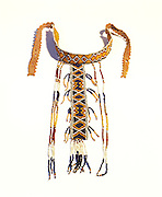 0193-1020 ~ Copyright:  George H. H. Huey ~ Western Apache girl's puberty ceremony T-shaped beaded necklace.  Circa 1890's, Arizona.  11 3/4 inches long.