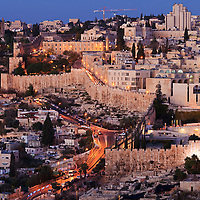 A view from the East of the Old City's Jewish Quarter and entrance to the Kotel (Western Wall) shortly befores sunrise.