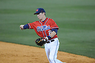 Ole Miss' Alex Yarbrough (2) throws to first for an out at Oxford-University Stadium in Oxford, Miss. on Wednesday, March 2, 2010.