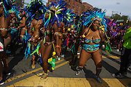 Revelers celebrate their Caribbean heritage with elaborate costumes, and music during the West Indian  parade along Eastern Parkway in Brooklyn.